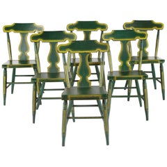 Set of Six, Green, Plant-Seated, Lyre Back, Pennsylvania Chairs