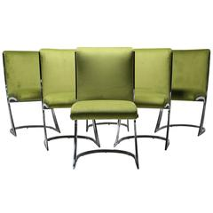 Arthur Umanoff chrome frame dining chairs in the style of Pierre Cardin.