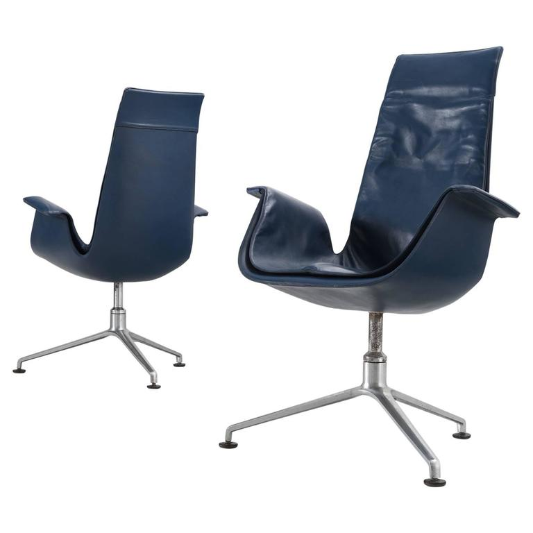 Fabricius & Kastholm Set of Two Blue Leather Tulip Chairs For Sale
