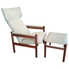 Scandinavian Modern Wing Chair and Ottoman by Soren Hansen for Fritz Hansen