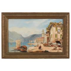 19th Century Painting, View of a North Italian Village by a Lake