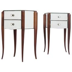 Pair of French Art Deco Mirrored Nightstands