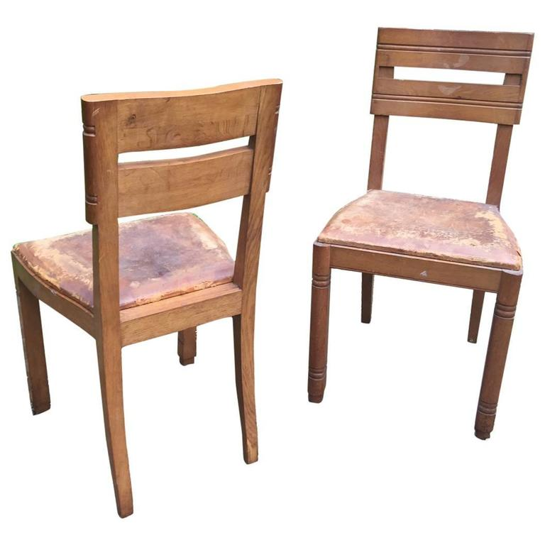 Charles Dudouyt, Pair of Oak Chairs, circa 1940 For Sale
