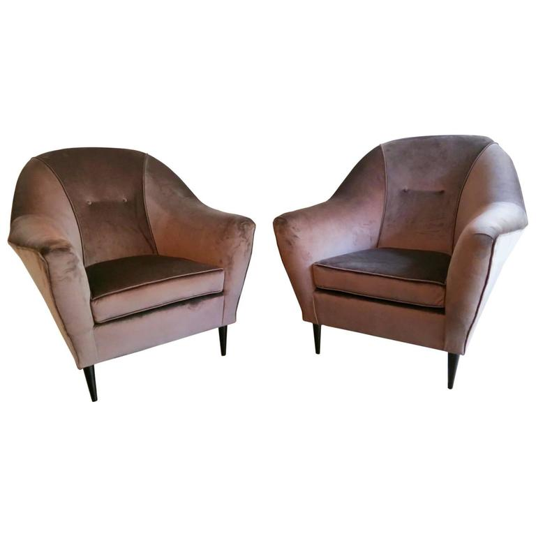 Pair of Mid-Century Italian Velvet Armchairs Attributed To Ico Parisi  For Sale