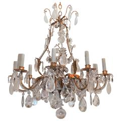 Wonderful Gilt Baguès Rock Crystal Nine-Light Fixture Vintage Jansen Chandelier