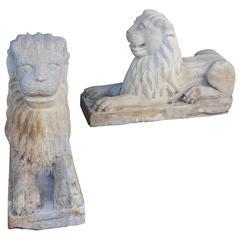 19th Century Cut Stone Lions