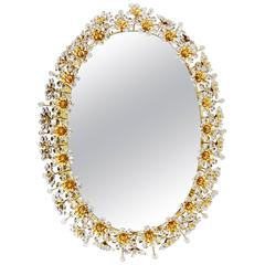 Palwa Backlit Flower Wall Mirror, Gilt Brass and Crystals, Germany, 1970