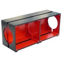 1940s Art Deco Black and Red Low Console