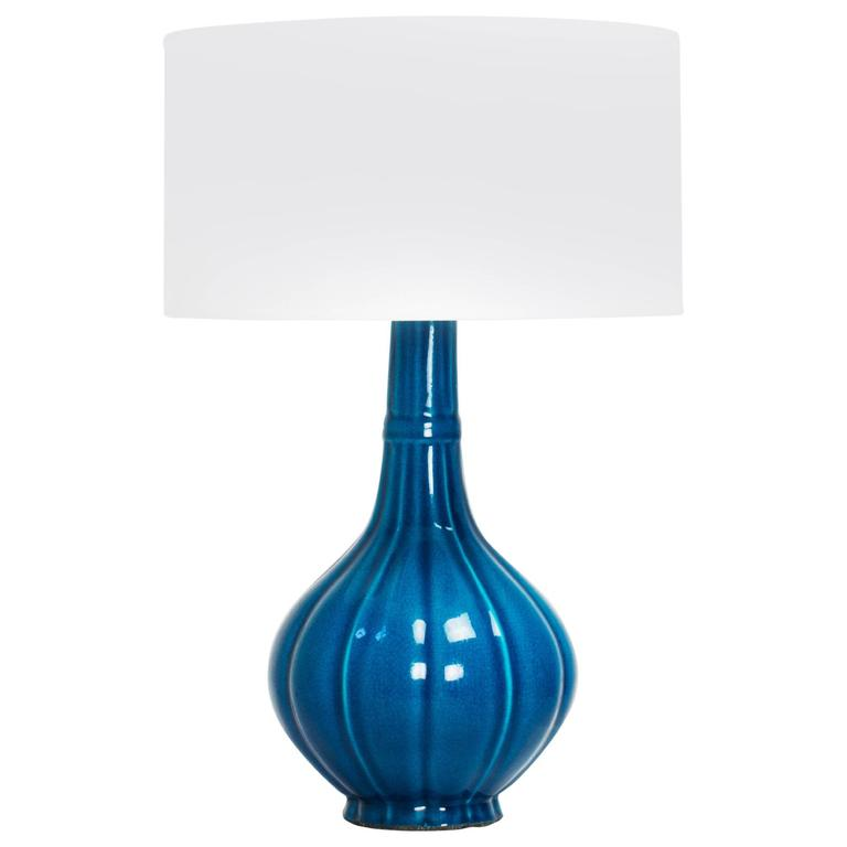 Bon Pol Chambost Blue Crackle Glaze Ceramic Lamp