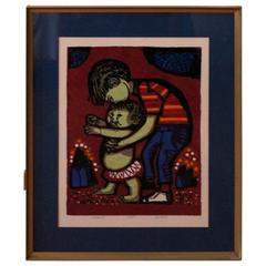"David Weidman Signed and Numbered Silk Screen ""Walking"""