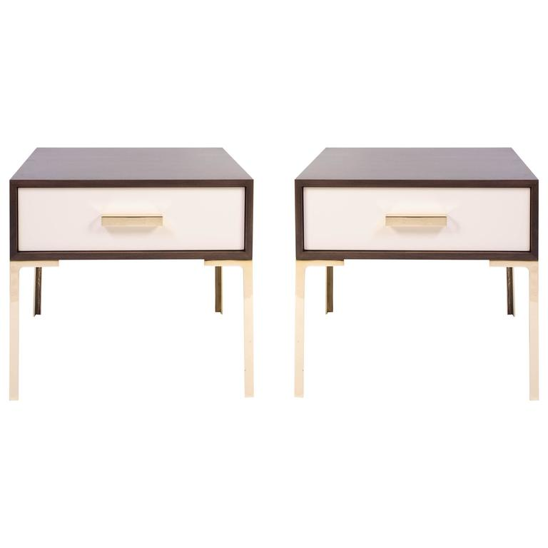 Astor Nightstands in Contrasting Ebony & Ivory by Montage 1