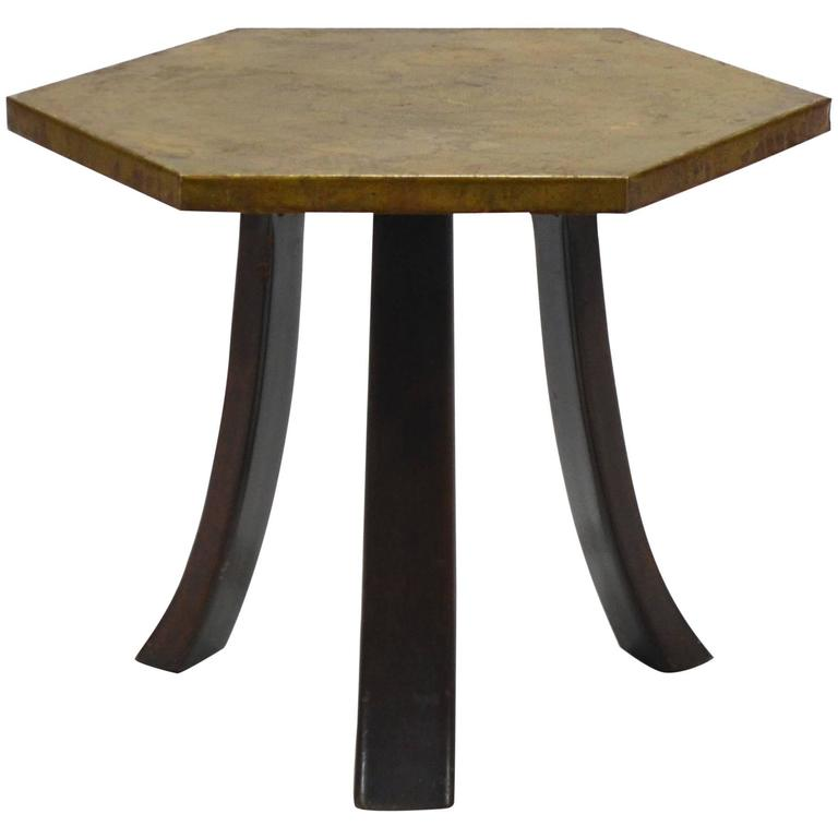 Harvey Probber Hexagonal Side Table with Bronze Top 1