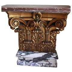 French Early 20th Century Giltwood Marble Console