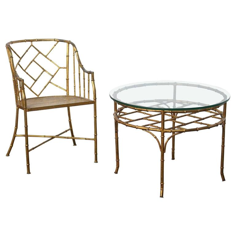 Faux Bamboo Set of Side Chair and Table in the Style of Adnet and Jean Royere For Sale