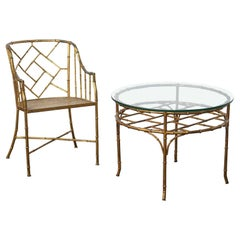 Faux Bamboo Set of Side Chair and Table in the Style of Adnet