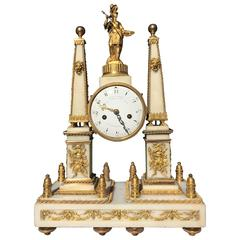 18th Century Neoclassical French Mantel Clock Ormolu & White Marble, by Bertrand