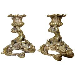 Pair of 19th Century Italian Bronze Mermaid Candlesticks or Candleholders