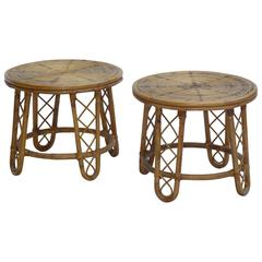 1950s French Bamboo Guéridons Side Tables