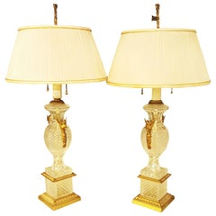 Pair of Hollywood Regency Style Fine Glass Lamps with Swan Handles