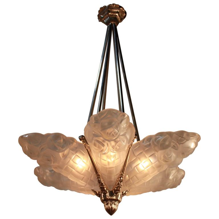 French art deco chandelier 1930s by degue at 1stdibs french art deco chandelier 1930s by degue for sale aloadofball