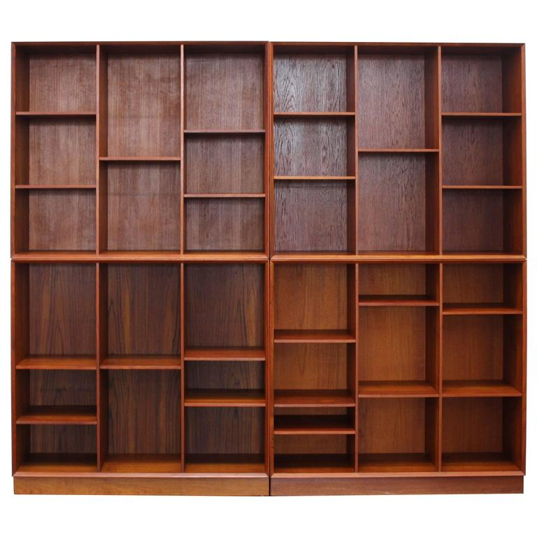 Solid Teak Hvidt & Mølgaard for Søborg Møbelfabrik Bookshelf or Wall Unit,1950s 1