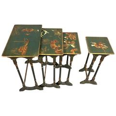 Four Gorgeous Chinoiserie Decorated Nesting Tables, circa 1940