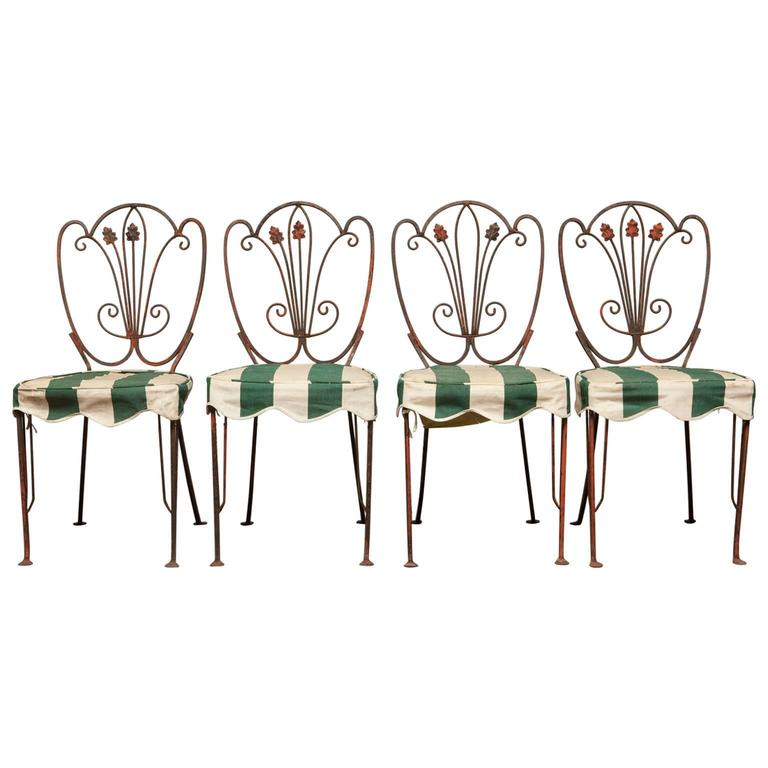 Set of Four French Iron Bistro Dining Chairs