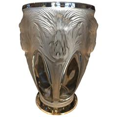1930s Art Deco Crystal Vase, Signed Verlys, French, Thistle Pattern High Relief