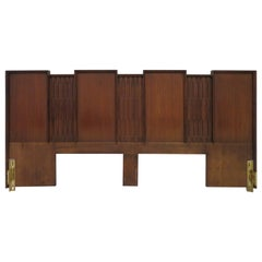 Wonderful Sculptural Walnut Brutalist King-Size Headboard Mid-Century Modern