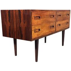 Rosewood Four-Drawer Low Chest of Drawers, Denmark, circa 1960
