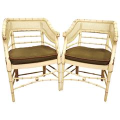 Pair of  Mid Century Curved Back Bamboo Arm Chairs Removable Cushion