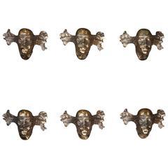 Fabulous Michel Jaubert Bronze Sconces Set of Six Signed