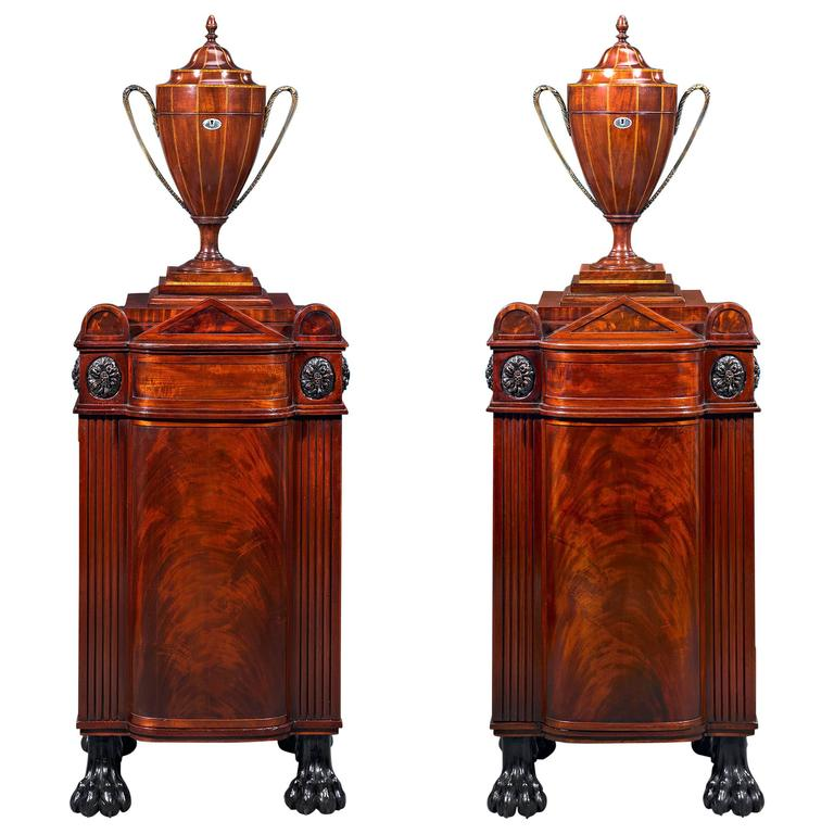 Pair of George Smith Style Dining Pedestals with Cutlery Urns