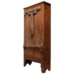 16th Century Primitive Dutch Cupboard Cabinet with Drop Down Table
