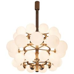 Large Metal Chandelier with Opaline Glass Spheres