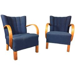 Pair of Curved Arm Danish 1940s Blue Wool Lounge Chairs