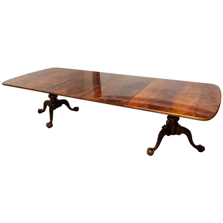 Fine Georgian Two Pedestal Mahogany Dining Table By Henredon 1