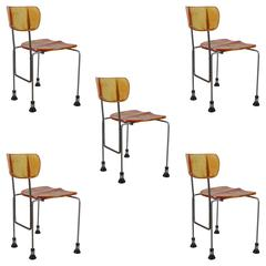 Set of Five Pesce Broadway Chairs by Bernini Italy