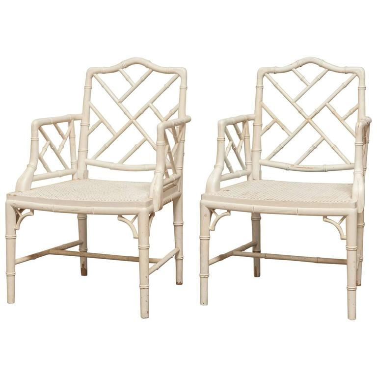 Pair of Chinese Chippendale Faux Bamboo Armchairs For Sale