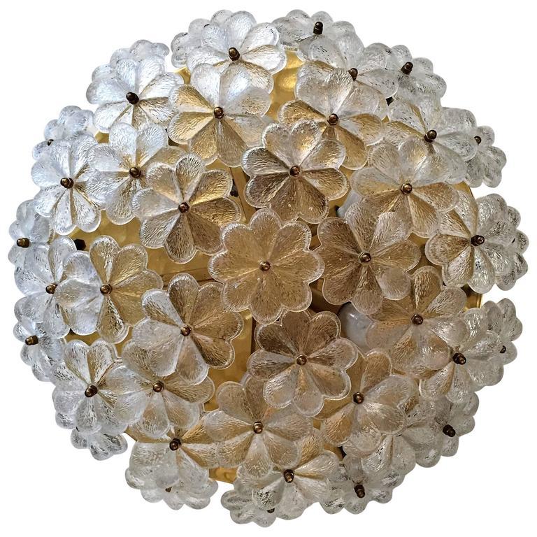 Extra Large Palme Glass Austrian 1960s Flush Ceiling Light For Sale