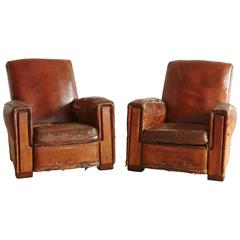 Pair of Distressed Wabi Sabi Style, 1940s Large French Leather Fauteuils