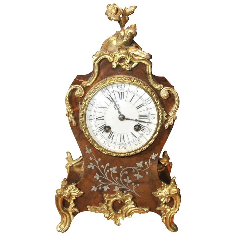 French Empire Antique Rococo Mantle Clock Mother Of Pearl