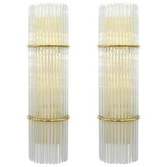 Pair of Glass Rod and Brass Sconces