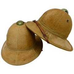 Two Original Pith Helmets from the Belgian Congo, circa 1940