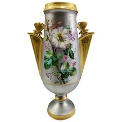 Antique Aesthetic Movement French Enameled and Platinum Porcelain Vase