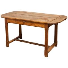 19th Century French Farmhouse Kitchen Table with Leaves