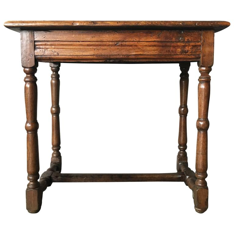 Antique Oak Side Table, circa 18th Century