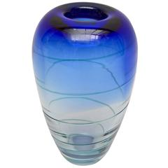 Sensual German Blue Swirl Glass Vase Made by Deru Design