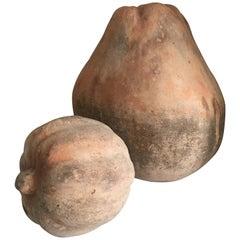 Pair of Monumental Terra Cotta Gourds