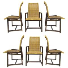 Set of Six Mid-Century Walnut and Rattan Dining Chairs, circa 1970s